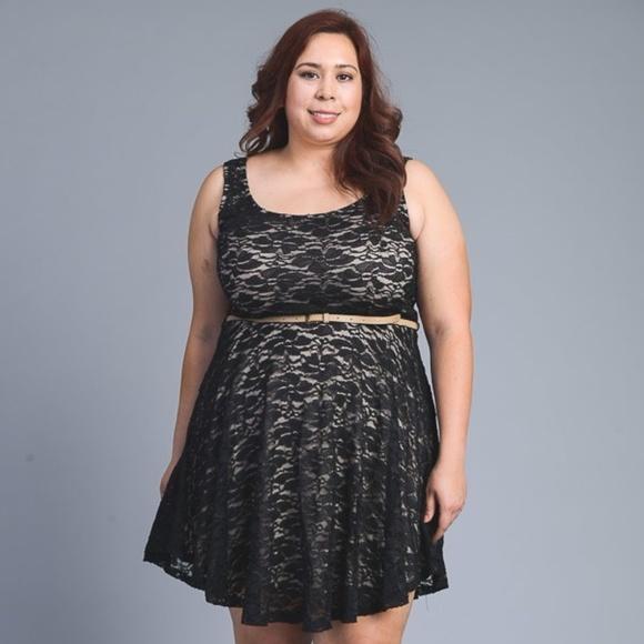 *CLEARANCE* Plus Size A-Line Lace Dress w/ Belt Boutique